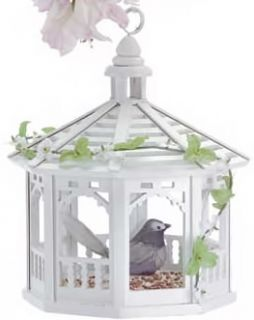 Victorian Garden White Gazebo Bird Feeder Ornament