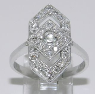 Vintage Estate Antique 14K White Gold Diamond Cocktail Ring Sizeable