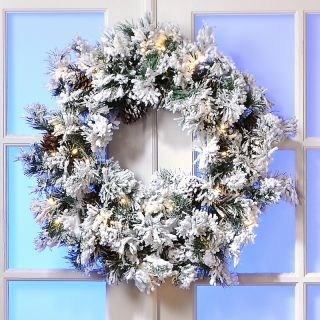 Colin Cowie Colin Cowie 30 Flocked White Wreath with Lights and Timer