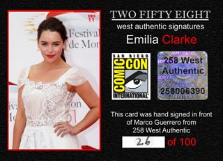 SDCC Emilia Clarke Signed Card Game of Thrones Khaleesi