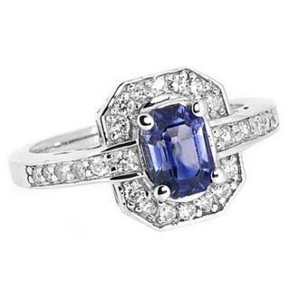 80ct EMERALD CUT BLUE CEYLON SAPPHIRE DIAMOND ENGAGEMENT RING 14k