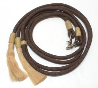 Nylon Covered Cotton Round Braided Split Reins Horse Hair Horse Tack