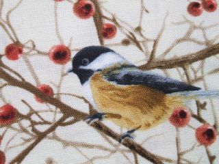 Timeless Treasures Chickadee Branch Fall Autumn Fabric