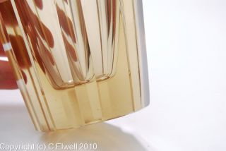 Daum Art Deco Amber Glass Signed Geometric Cut Vase