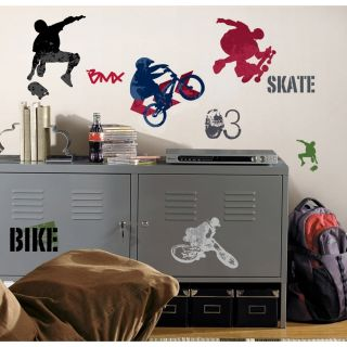 25 New Extreme Sports Wall Decals Skateboarding Biking Stickers Boys