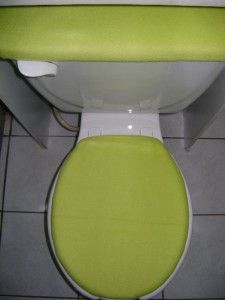 lime green fleece fabric toilet seat cover set