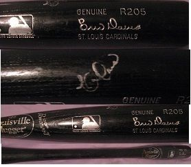 Eric Davis auto signed game used baseball bat Cardinals REDS great use