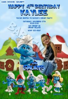 Smurfs Smurfette Custom Birthday Invitation Card Photo Clumsy Papa