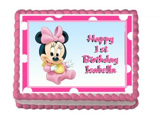 Baby Shower 1st Birthday Minnie Party Cake Image Girl