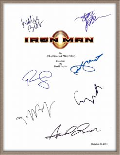 DOWNEY JR GWYNETH PALTROW JON FAVREAU SIGNED X7 IRON MAN SCRIPT RPT