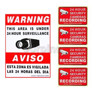 5X Video Home CCTV Surveillance Security Camera Stickers Warning Decal