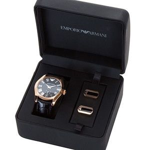 EMPORIO ARMANI BLACK LEATHER,ROSE GOLD WATCH+CUFFLINKS AR8017 NEW+BOX