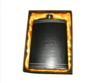 Gift Boxed Black Leather Wrapped Flasks Drinking Flask