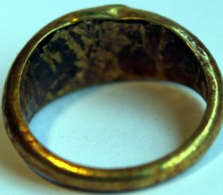 Ancient Roman Gold Finger Ring with Original Green Glass STONE1ST