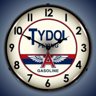 style Tydol Flying A Gasoline lighted clock more gas clocks available