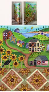 Sunflower Country Quilt Crow Folk Art Painting Original