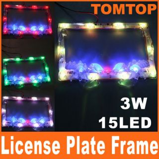 Choices Auto Glow LED License Plate Flash Frame for Motorcycle Car