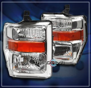 10 Ford Super Duty Crystal Headlights Lamps Chrome F 250 F 350 F 450 F