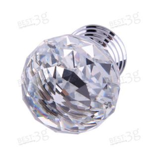 clear round crystal glass cabinet drawer door pull knobs handles 30mm