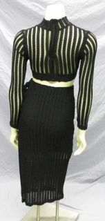 Vtg 80s Fredericks of Hollywood 2pc Black Mesh Bodycon Stretch Dress S