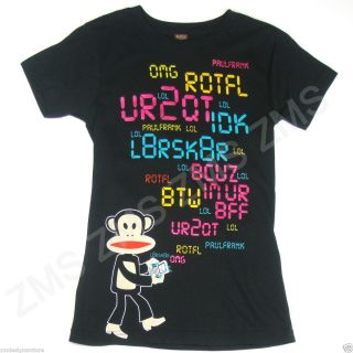 Paul Frank Julius Monkey Smartphone Texting Message Black Tee Shirt