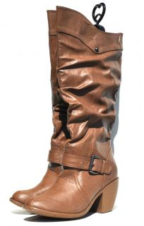 Forever 21 Sexy Womens Faux Leather Light Brown Knee High Boots Retail