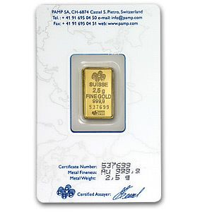 Gold Bar Pamp Suisse Lady Fortun with Assay Card and Serial