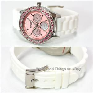 new fossil pink crystal chrono dial white silicone band ladies watch