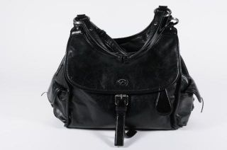 Francesco Biasia Black Leather Strap Flap Dual Pocket Zip Top Hobo