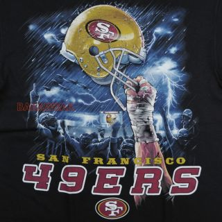 High T Shirt Black NFL SF San Francisco Football Thunder Baba
