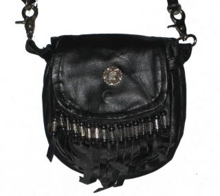 Leather Biker Beaded Fringe Hip Bag Carry Purse