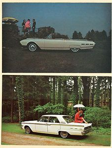 1962 FORD THUNDERBIRD CONVERTIBLE FAIRLANE 500 DEALER PROMO POSTCARDS