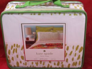 KATE SPADE GARDEN GROVE CONFETTI BRIGHT CHARTREUSE GREEN KING SHEET