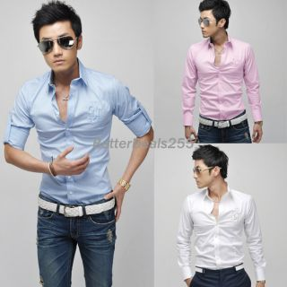 Mens Slim Fit Stylish Sleeve Dress Shirts Luxury Three Colors 2012