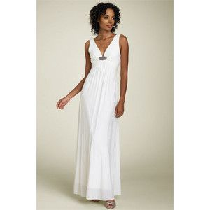 BCBG OFF WHITE JERSEY GEMSTONE BROOCH V NECK LONG GOWN DRESS ACJ64304
