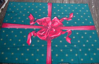 Christmas Tablecloth BIG Red Bow Gift Wrap 100 Cotton Made in Brazil