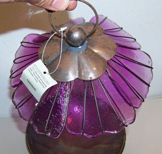 New Art Deco Copper Art Glass Purple Bird Feeder