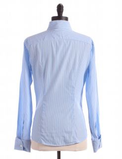 blue striped button up top by gap size s blue long sleeve collared