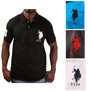 US Polo Assn USPA Mens Solid Pique Polo Shirt Big Pony