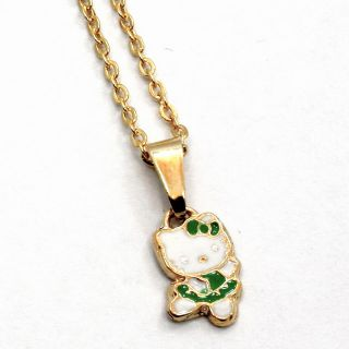 Gold 18K GF Green Enamel Hello Kitty Ballerina Dance Girl Baby Kid