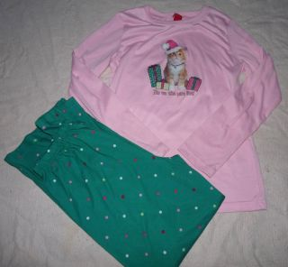 New Girls Christmas Kitty Cat Kitten Pajamas XS 4 5 s 6 7 L 10 12 XL