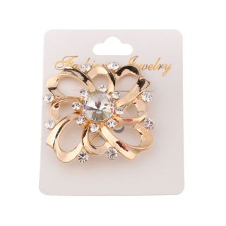 Prom Jewelry Brooch Pin Gold Tone Clear Rhinestone Breastpin Brooches