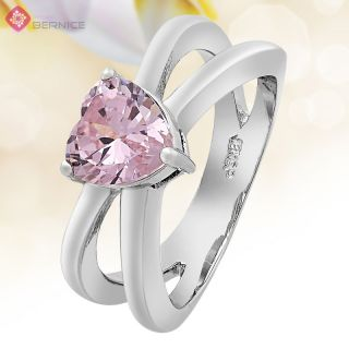 Jewelry Heart Cut Pink Sapphire White Gold Plated Engagement Ring 6 M