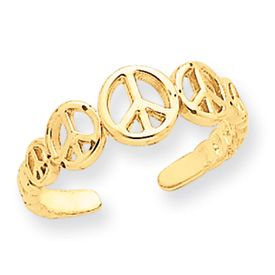 New Beautiful Adjustable 14k Yellow Gold Peace Sign Toe Ring