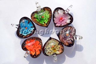 Wholesale Lots Jewelry 12pcs Heart 3D Murano Glass Bead Pendants Fit