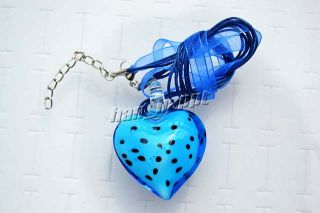Wholesale Lots Jewelry 6ps Heart Dot Murano Glass Bead Pendant Silver