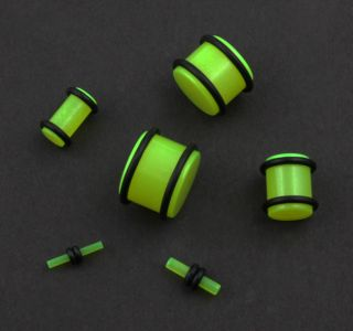 Pair Acrylic Green Glow in The Dark Ear Solid Tunnel Plugs Gauges with