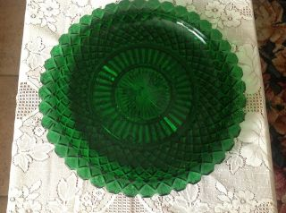 Vtg 14 Anchor Hocking Forest Green Waterford Waffle Glass Serving