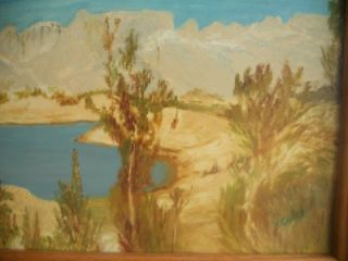 Antique Oil Painting Geyer 1962 Western Divide Awesome