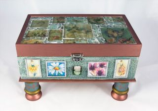 Handmade Glass Mosaic Wood Jewelry Box Flower Fairies